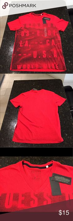 NWT Red Men's Guess V-neck NWT Red Men's Guess V-neck Guess Shirts Tees - Short Sleeve
