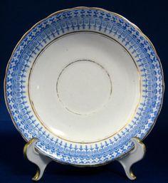 Staffordshire Blue Transferware Glencoe Cake Plate 1870s Salad Plate Victorian
