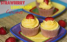 Strawberry Lemonade Cupcakes ~ Sweet strawberries blended into a moist, fluffy cupcake and topped with a creamy lemonade buttercream frosting. A dessert that shouts summertime!