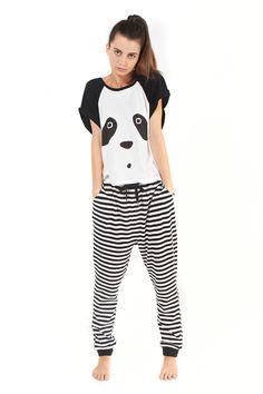 MintPink Sleep Wear Panda-Monium Lounge Set