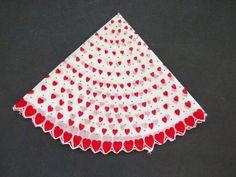 Vintage Round Valentine Handkerchief by Carol Stanley - Scalloped Hem Red Hearts - Valentines Day - Sweetheart - Valentine Gift Collectible