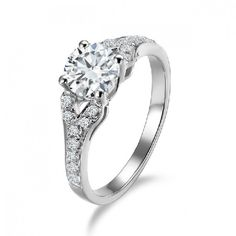 1 CT ADGF Diamond 925 Sterling Silver Engagement Wedding Ring White... ($92) ❤ liked on Polyvore featuring jewelry, rings, white gold plated ring, gold plated engagement rings, diamond jewelry, sterling silver engagement rings and sterling silver rings