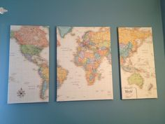How to make put a map on canvas for art what about using pins or lay a world map over 3 canvas cut into 3 pieces coat each canvas with mod podge and wrap the maps around them like presents let dry and hang on the wall gumiabroncs Images