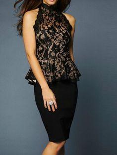 Black High Neck Lace Pelpum Blouse - Choies.com