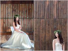 Winter Floral Wreath Green Flower Crown // Rustic Fall Wedding Ideas // Lightburst Photography // Flowers: Dear Love Events // Rosemary Hill Venue