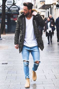 1147 best men's fashion images in 2017 Stylish Mens Outfits, Casual Outfits, Men Casual, Gq Style, Mode Style, Men Looks, Parka Outfit, Look Man, Herren Outfit