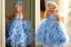 Periwinkle blue organza ruffled flower girls dress. Made in most sizes, babies, toddlers & girls.    Organza ruffles are placed vertically.