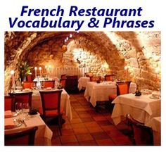 Audio Lesson: French Restaurant Vocabulary & Phrases - Includes 35 MP3 Files W/Voice Recordings & Video!