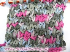 Knooking - simple basketweave (IN GERMAN - If you are familiar with knooking, you can watch this video to learn this stitch... The video is very good... Deb)