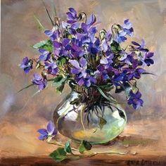 Purple Violets - Birthday Card by Anne Cotterill Flower Art