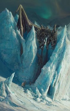 Dragonblight by Fainernil | dragon skeleton in ice | fanttasy art | dead dragon