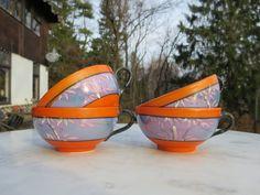 Vintage Handpainted Asian Japan Luster Tea cup Set 4 Orange Blue Trees Leafs Scene Lusterware Nippon by NewOxfordVintage on Etsy