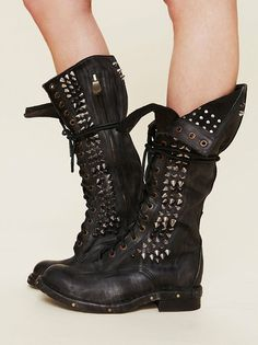 spiked slouchy combat boots