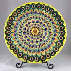Peacock Feather Design Platter - Hand Painted Ceramics