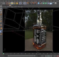 jack daniel´s bottle c4d viewport