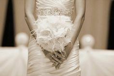 Gorgeously Stunning Ivory Feather Bouquet by MyHairCandyCouture,
