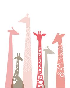 giraffes giclée print. 8X10. pink & taupe. by ThePaperNut on Etsy, $18.00