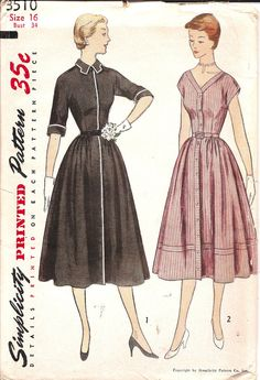 Vintage Sewing Pattern 1950's Shirt Dress Simplicity by TenderLane, $18.00