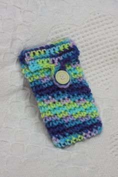 Funky Cell Phone Pouch - Handmade Crochet - fits most phones. $10.00, via Etsy.