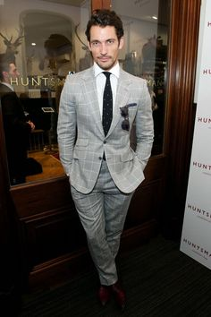 David Gandy attending Hunstman Presents: Gregory Peck, Stype Archive of an Icon on Day Two of London Collections: Men SS '15 David is wearing a windowpane check suit by Marks and Spencer Best of British Collection. Shoes by Lanvin. June 16, 2014
