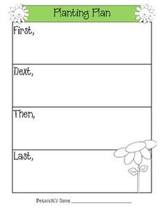 This is a graphic organizer (First, Next, Then, Last) for planting seeds or plants.  You can use it before or after an activity in a whole group