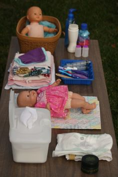 Doll diaper station/doll care station. For more inspiring play ideas: http://pinterest.com/kinderooacademy/imagine-dream-pretend-play/ ≈ ≈