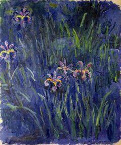 Blooming Brushwork garden and still life flower paintings - Claude Monet - Iris, Claude Monet, Artist Monet, Art Amour, Iris Painting, Monet Paintings, Flower Paintings, Pierre Auguste Renoir, Impressionist Paintings, Love Art