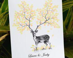 """22X30"""" Hand Drawn Fingerprint Wedding deer Tree, Thumb Print Guest Book,wedding guest book alternative, guest book fingerprint tree, D003"""