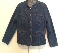 Womens Blue Jean Jacket, size 8,  98% cotton 2% Spandex Pewter buttons Solid #Westbound #JeanJacket