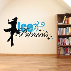 Ice Princess Vinyl Wall Decal - Sports Wall Design, Ice Skating Decor, Figure Skating Sign, Girls Room Wall Decal