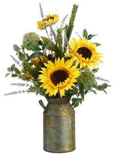 August Grove Sunflower Lavender Olive Faux Florals in Pot (Set of Sunflower Floral Arrangements, Artificial Floral Arrangements, Faux Flower Arrangements, Beautiful Flower Arrangements, Sunflower Vase, Fruit Arrangements, Yellow Sunflower, Floral Bouquets, Fake Flowers