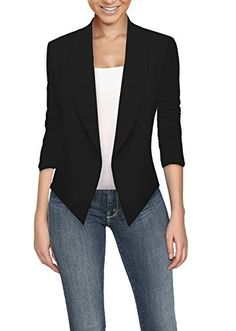 Womens Casual Work Office Open Front Blazer JK1133 BLACK Large * Check out this great image @