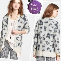 HP  Free People Sweater Out of Africa FREE PEOPLE 'Sweater Out of Africa' Long Cardigan. The softest cardigan ever! Feline spots lend wild style to a fuzzy knit cardigan. Perfect for keeping warm in any urban jungle. Front button closure.Open to all reasonable offers!Discounted bundlesNo trades Free People Sweaters Cardigans