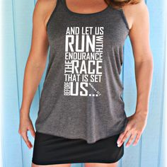 Womens Flowy Workout Tank Top. Keep Running the Race Bible Verse. Motivational Workout Clothing. Christian Workout Top. Running Tank Top. Marathon Tank. Hebrews 12 1. Marathon Shirt. Half Marathon Shirt. Gift for Runner. Cute Workout Tank. Inspirational Quote. Motivational Workout Tank.