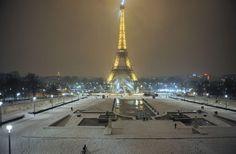 Paris snow: The Eiffel tower after snow fell overnight