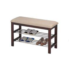 Beige/ Walnut Shoe Rack Bench - Overstock™ Shopping - $69.99