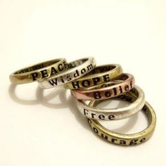 Personalised 8Pcs Antique Letter Carved Wishing Women's Rings