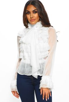 45fb8098fd77 On Show White Sheer Pussy Bow Ruffle Blouse Sheer White Blouse, Sheer  Chiffon, Chiffon. Pink Boutique UK