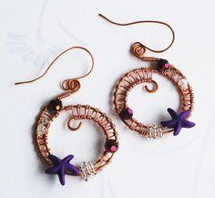 Purple Starfish Crystal Copper Wire Wrap Spiral Woven Ocean Sea Life Earrings #jeanninehandmade #Wrap