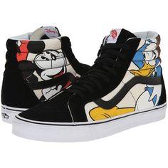 Vans Disney SK8-Hi Reissue Mickey & Friends/Black) Skate Shoes (4.940 RUB) ❤ liked on Polyvore featuring shoes, sneakers, vans, black high top sneakers, leopard print sneakers, canvas sneakers, black high tops and black sneakers