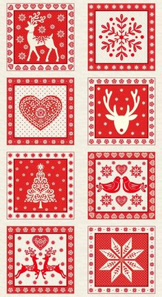 Christmas 2017 Scandi 4 Red Squares Panel part of the Makower UK Collection Christmas Blocks, Christmas Deco, Scandinavian Christmas, Christmas Design, Christmas Projects, Holiday Crafts, Christmas Ornaments, Christmas Patchwork, Christmas 2017