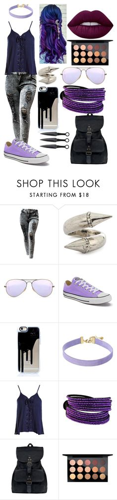 """""""Sister's Outfit 4"""" by lord-nightshade on Polyvore featuring Alexander McQueen, Ray-Ban, Converse, Vanessa Mooney, Sans Souci, Mahi, MAC Cosmetics, Lime Crime, purple and black"""