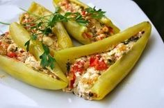 Peppers stuffed with feta cheese Turkish Recipes, Greek Recipes, Veggie Recipes, Cooking Recipes, Food N, Food And Drink, Greek Appetizers, Macedonian Food, Greek Cooking