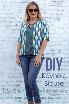 Keyhole Blouse Tutorial Pin It Sewing Patterns Free, Free Sewing, Sewing Tutorials, Clothing Patterns, Sewing Ideas, Sewing Projects, Sewing Blouses, Sewing Shirts, Sewing Clothes Women