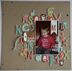 #papercraft #scrapbook #layout -  Use leftover chipboard letters (or any stcker letters for that matter!) for a scrapbook page.