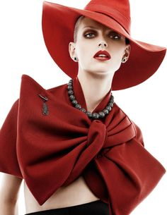 Karlina Caune by Giampaolo Sgura for Vogue Paris September 2014  |  ladies hats 2