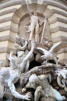 ❤ - Hofburg Palace - Power by Land fountain by Edmund Hellmer - Vienna, Austria.