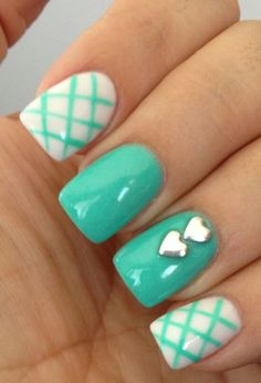 Hearts and aqua nails