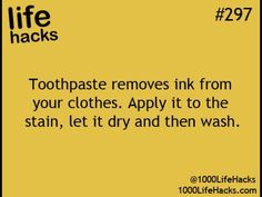 Toothpaste removes ink from clothes