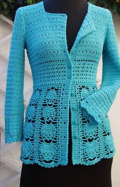 "Flickr [   ""Blue Lace Cardigan By Ingunn Santini - Purchased Crochet Pattern - (ravelry)"",   ""Crochet Blue Jacket by Ingunn Santini - this is gorgeous! I"